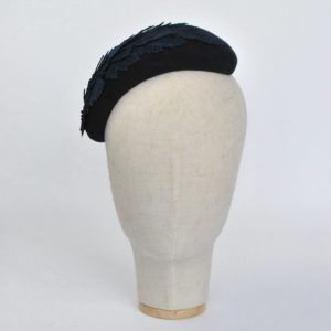 Navy Blue Felt Half Hat with Leather Leaves - front