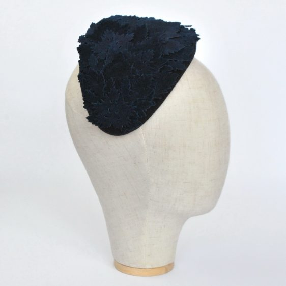 Navy Blue Felt Half Hat with Leather Leaves - side