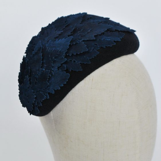 Navy Blue Felt Half Hat with Leather Leaves - top detail