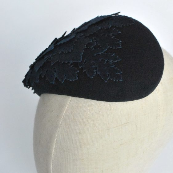 Navy Blue Felt Half Hat with Leather Leaves - top