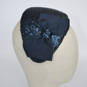 Navy Sequin Half Hat with Petersham Ribbon Bow - detail
