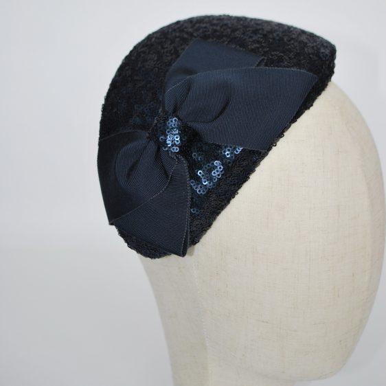 Navy Sequin Half Hat with Petersham Ribbon Bow - detail 2