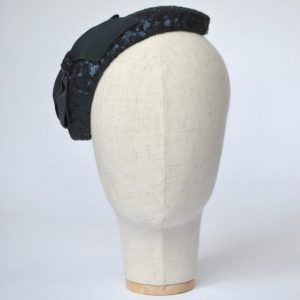 Navy Sequin Half Hat with Petersham Ribbon Bow - front