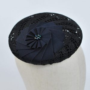 Navy Blue Straw Large Button Hat with Rosette and Pearls - detail