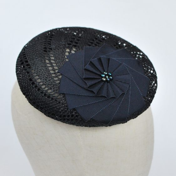 Navy Blue Straw Large Button Hat with Rosette and Pearls - detail 2