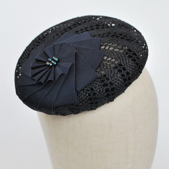 Navy Blue Straw Large Button Hat with Rosette and Pearls - detail 3
