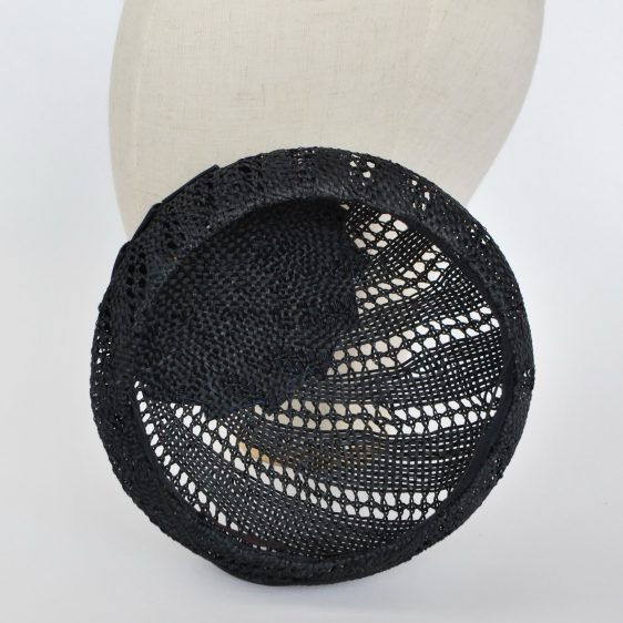 Navy Blue Straw Large Button Hat with Rosette and Pearls - inside