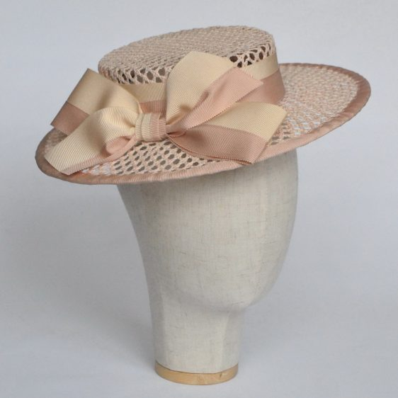 Nude Woven Boater Hat with Two Tone Ribbon Bow - angle