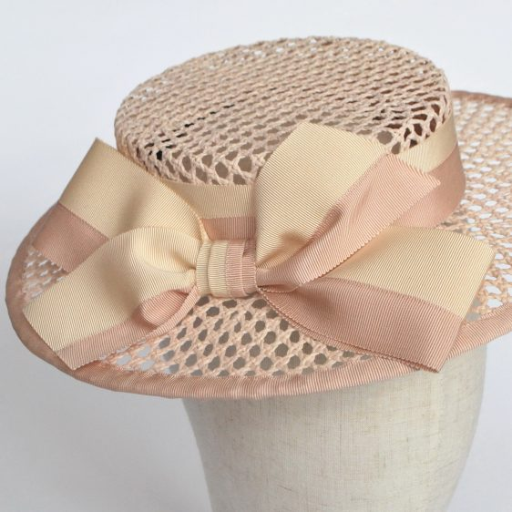 Nude Woven Boater Hat with Two Tone Ribbon Bow - detail 2