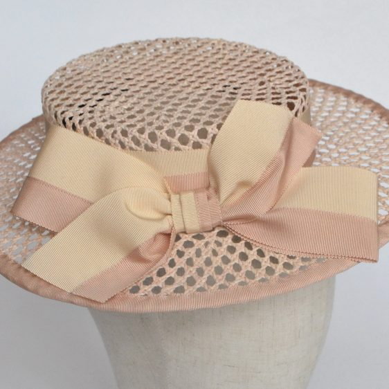 Nude Woven Boater Hat with Two Tone Ribbon Bow - detail 3