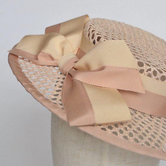 Nude Woven Boater Hat with Two Tone Ribbon Bow - detail