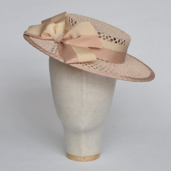 Nude Woven Boater Hat with Two Tone Ribbon Bow - front left