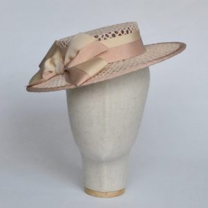 Nude Woven Boater Hat with Two Tone Ribbon Bow - front right