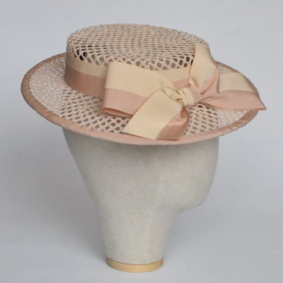 Nude Woven Boater Hat with Two Tone Ribbon Bow - side