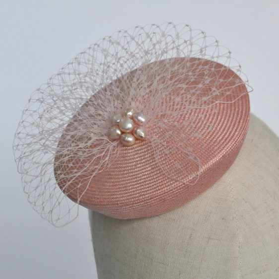 Pale Pink Straw Mini Button Hat with Pearls and Veiling - detail