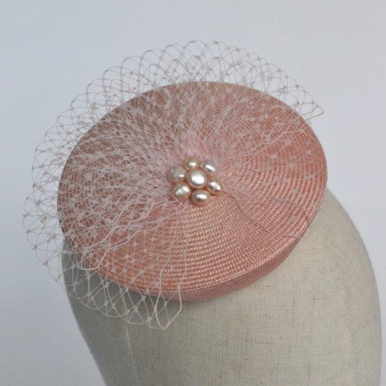 Pale Pink Straw Mini Button Hat with Pearls and Veiling - detail 2