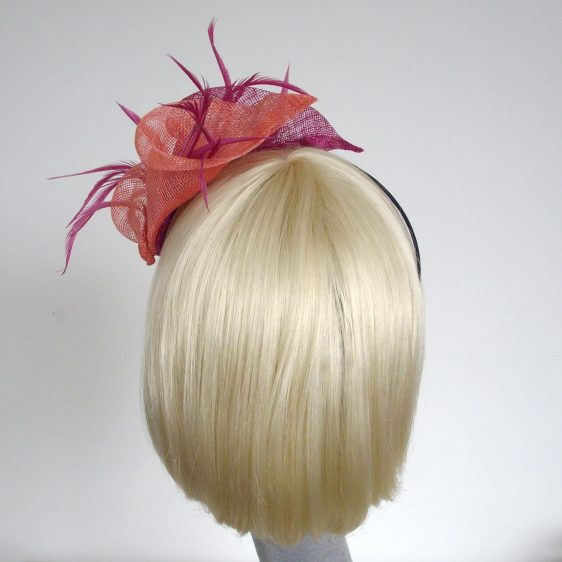 Pink Coral Sinamay Lily and Feather Fascinator - back