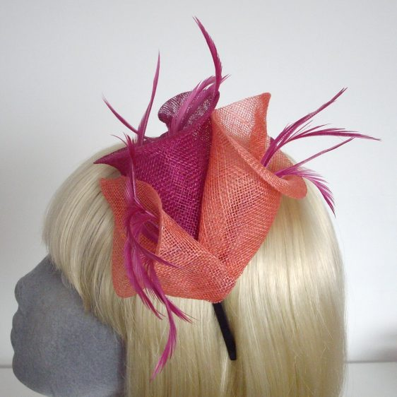 Pink Coral Sinamay Lily and Feather Fascinator - detail