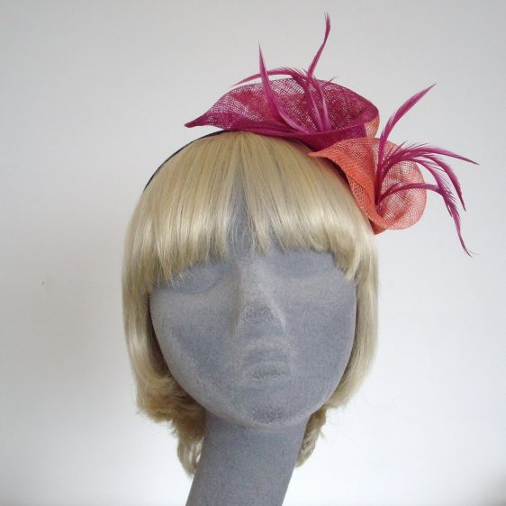 Pink Coral Sinamay Lily and Feather Fascinator - front