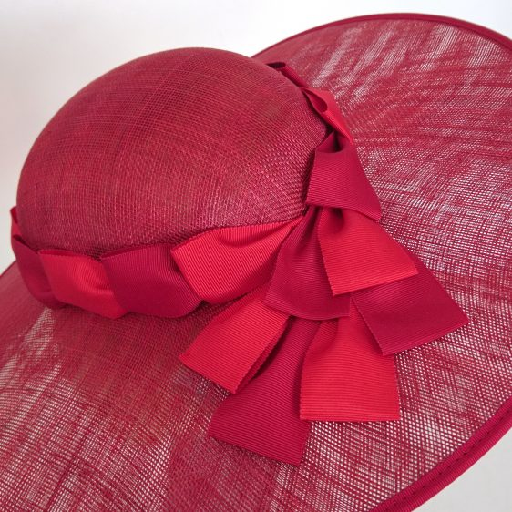 Red Sinamay Brimmed Hat with Two Tone Red Petersham Ribbon Trim - detail