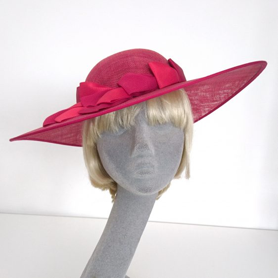 Red Sinamay Brimmed Hat with Two Tone Red Petersham Ribbon Trim - front