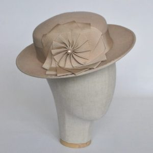 Stone Felt Boater with Ribbon Rosette - angle