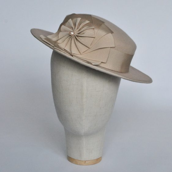 Stone Felt Boater with Ribbon Rosette - front left