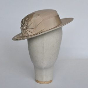 Stone Felt Boater with Ribbon Rosette - front right