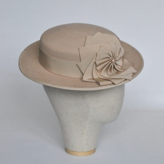 Stone Felt Boater with Ribbon Rosette - side