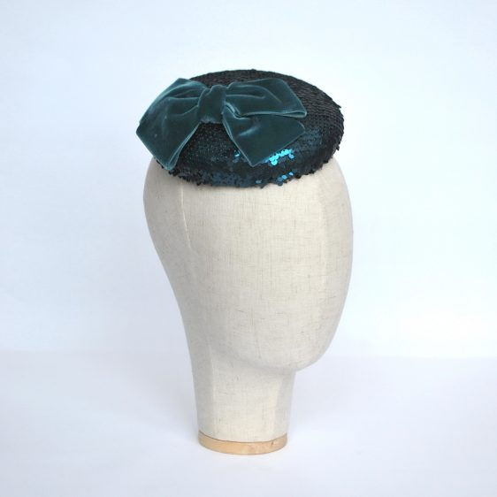 Teal Sequin Button Hat with Velvet Ribbon Bow - angle