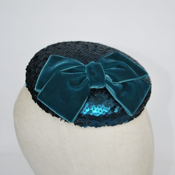 Teal Sequin Button Hat with Velvet Ribbon Bow - detail