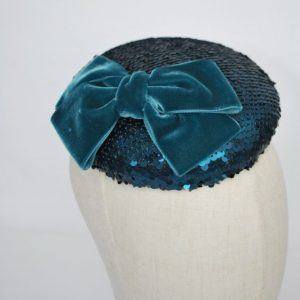 Teal Sequin Button Hat with Velvet Ribbon Bow - detail 2