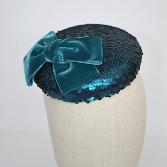 Teal Sequin Button Hat with Velvet Ribbon Bow - detail 3