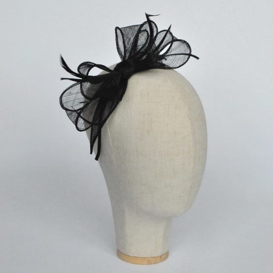 Black Bow Fascinator with Biot Feathers - angle