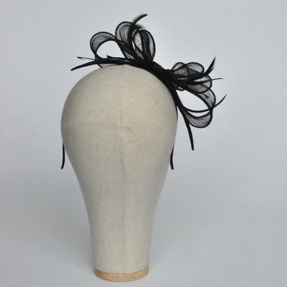 Black Bow Fascinator with Biot Feathers - back
