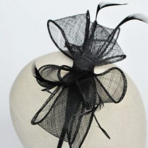 Black Bow Fascinator with Biot Feathers - detail 2