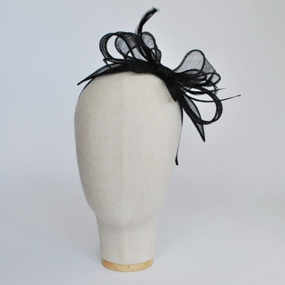 Black Bow Fascinator with Biot Feathers - front left