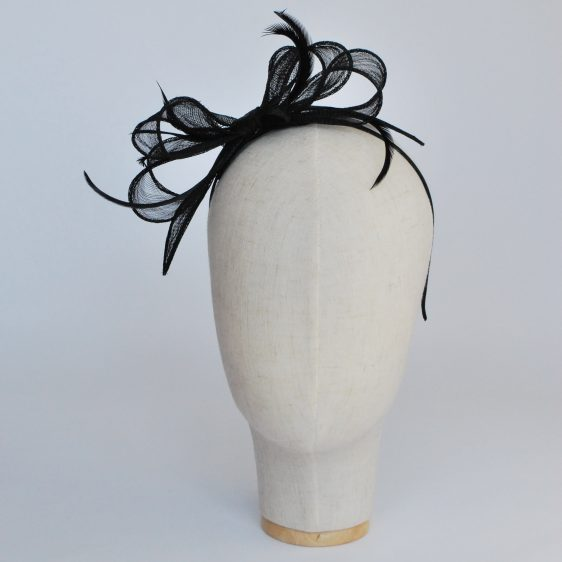 Black Bow Fascinator with Biot Feathers - front