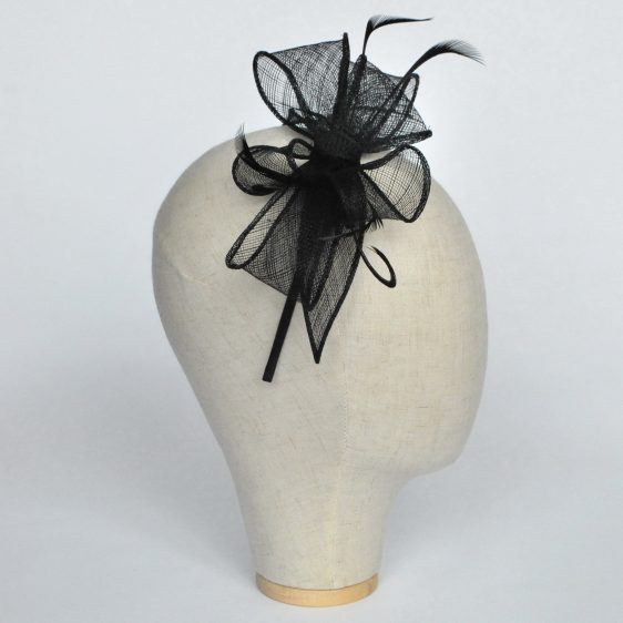 Black Bow Fascinator with Biot Feathers - side
