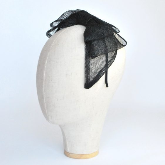 Black Large Sinamay Bow Fascinator - angle