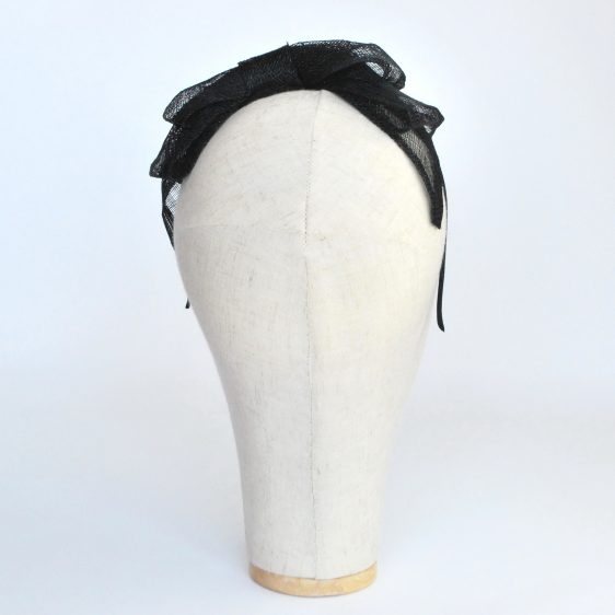 Black Large Sinamay Bow Fascinator - back