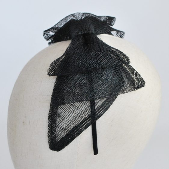 Black Large Sinamay Bow Fascinator - detail 2