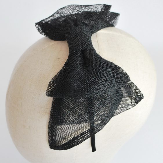 Black Large Sinamay Bow Fascinator - detail 3