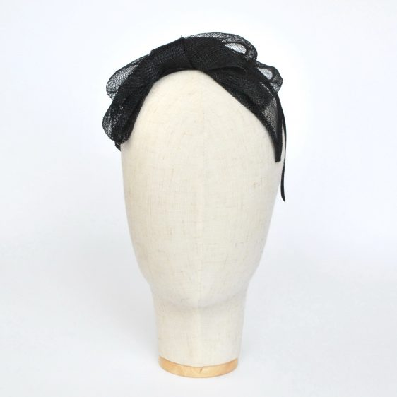 Black Large Sinamay Bow Fascinator - front right