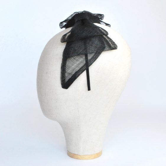 Black Large Sinamay Bow Fascinator - side