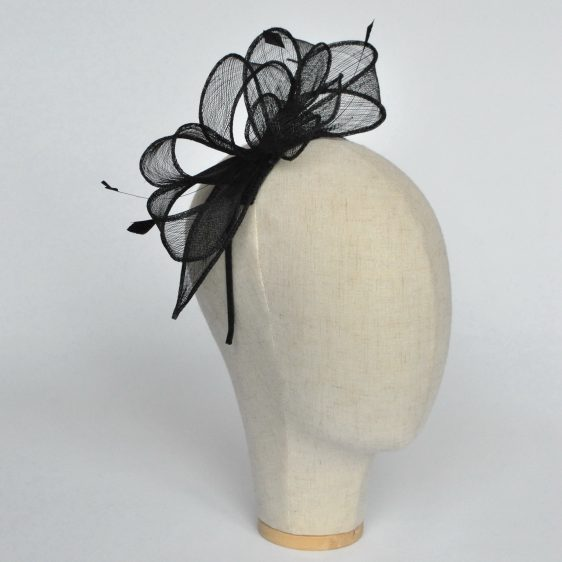 Black Loop Fascinator with Coque Feathers - angle