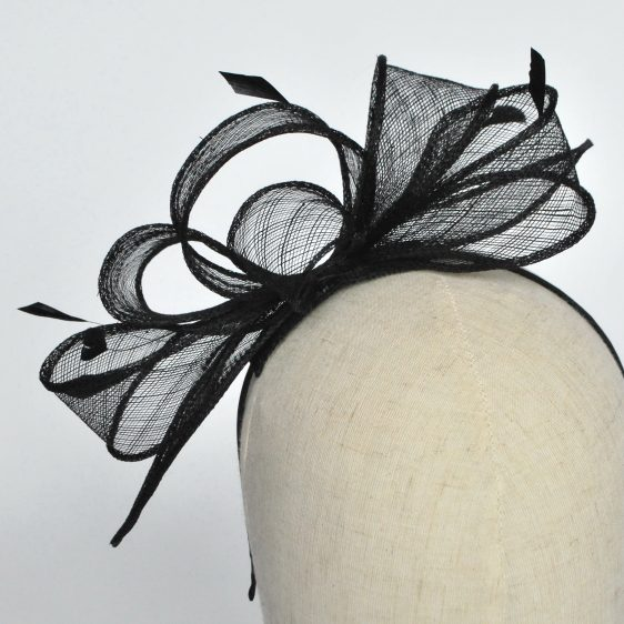 Black Loop Fascinator with Coque Feathers - detail 2