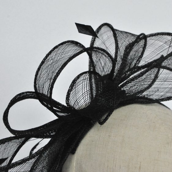 Black Loop Fascinator with Coque Feathers - detail