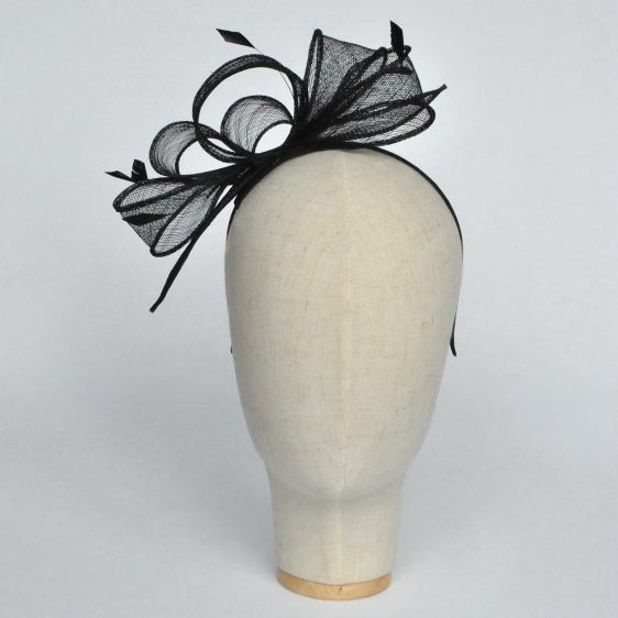 Black Loop Fascinator with Coque Feathers - front