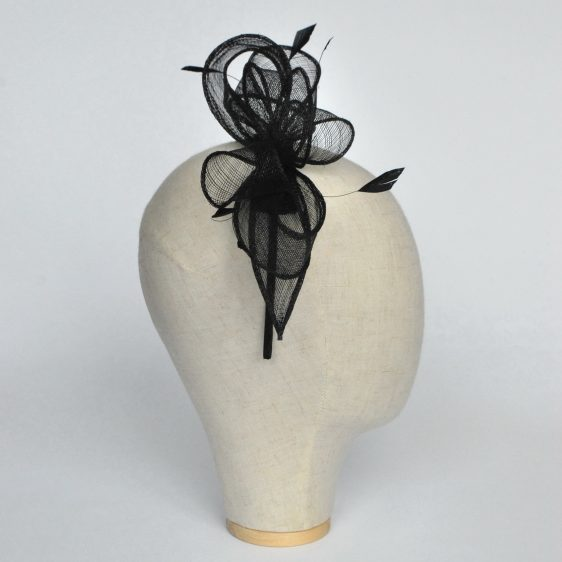 Black Loop Fascinator with Coque Feathers - side